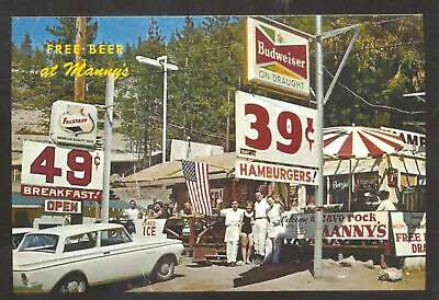 Manny's Beer Stand Store Budweiser Sign Advertising Postcard Copy Old Cars
