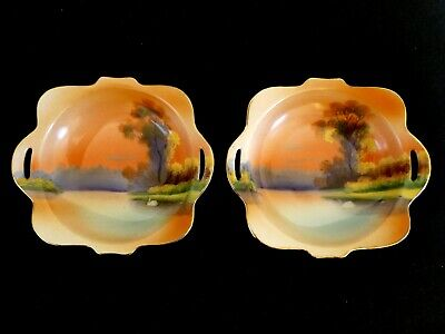 Fabulous Vintage Noritake Pair of Pierced Handled Trinket Dishes Exc. Cond.
