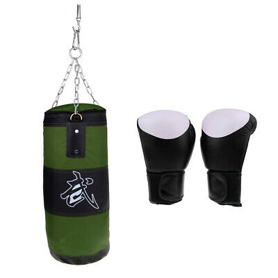 Olive Green Unfilled Punching Bag with Boxing Gloves for Kickboxing Practice