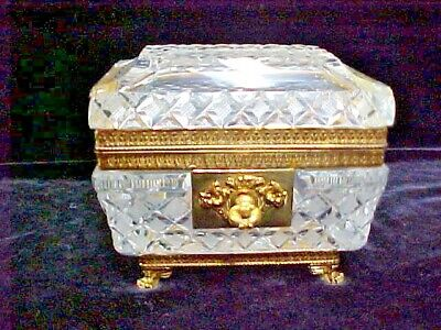 Antique French Cut Crystal Glass Vanity Jewelry Casket Box w/key Bronze EXCELLNT