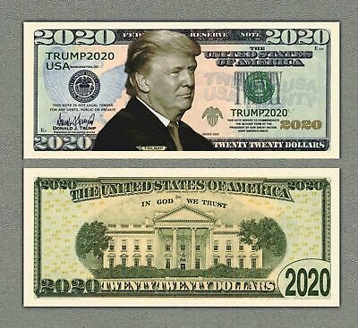 Donald Trump 2020 For President Re-Election Novelty Dollar Bill