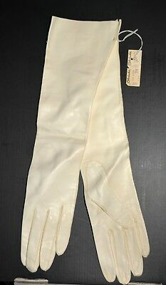 """Vintage White Kid Leather  Gloves 15"""" Long Made in Italy Size 7 Ohrbach's TAG"""
