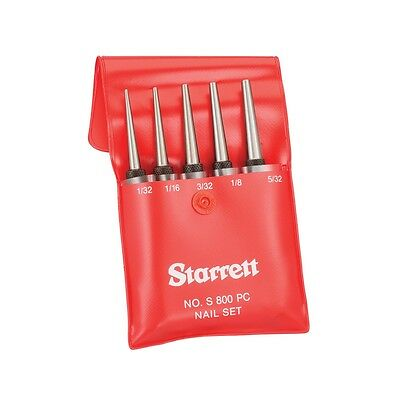 """Starrett S800PC Nail Punch Set Square Head 5-Piece 100mm/4"""" Made in USA"""