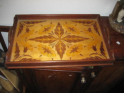 French Art Nouveau Design Wooden Marquetry Tray