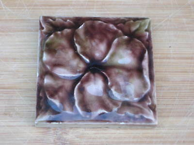Victorian Raised Majolica Flower Tile