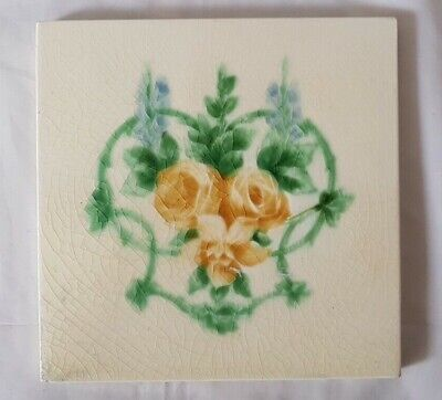 Charming Pilkington Art Nouveau Floral Motif  6 Inch Antique Tile