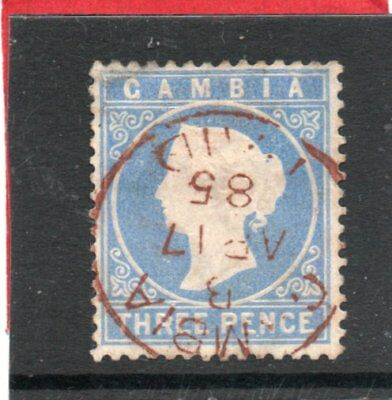 Gambia Vic. 1880-81 3d bright ultramarine sg 14a Used