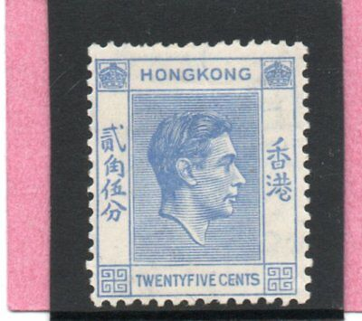 Hong Kong GV1 1938 25c bright blue P14 sg 149 H.Mint