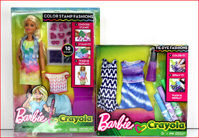 Lot 2- Barbie Crayola COLOR STAMP Fashions Blond Doll + Blue Tie-Dye Fashion Pac