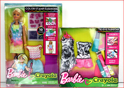 Lot 2- Barbie Crayola COLOR STAMP Fashions Blond Doll + Pink Tie-Dye Fashion Pac
