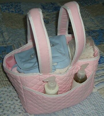 GORGEOUS QUILTED PASTEL PINK BABY NAPPY / BOTTLE / ORGANISER BAG by REMARQUE