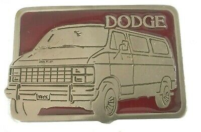 Vtg Van Belt Buckle Pewter Red Dodge Minivan Work Truck 1970s Tools Chevy GMC