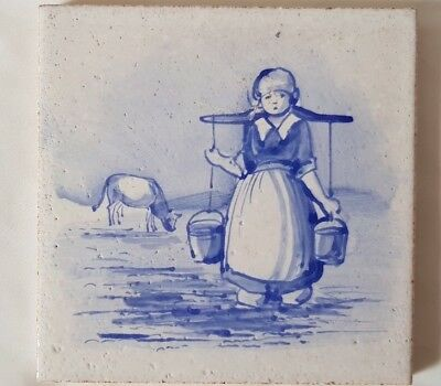 Maw & Co Blue & White Tile Featuring Milk Maid With Cow. 5 Inch Square