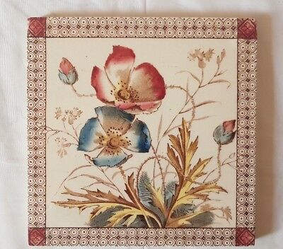 Elegant Floral Poppy Design Antique 6 Inch Tile