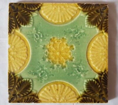 Majolica English Antique Symmetrical Floral 6 Inch Tile