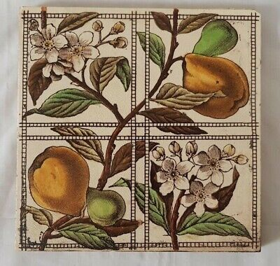 Charming Floral & Fruit Design 6 Inch Antique Tile 19Th Century