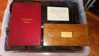 Vintage Sikes Hydrometer In Original Box + Sikes' Table + William Teacher Card