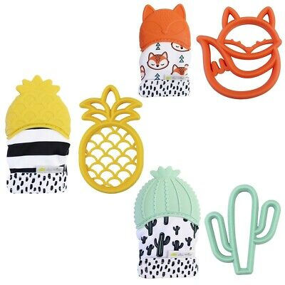 Itzy Ritzy Teething Happens 2 pc Gift Sets Teether Mitt & Silicone Teether