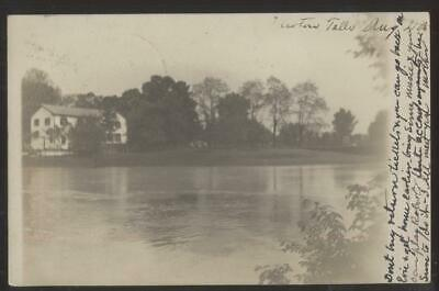 RP Postcard NEWTON FALLS OH  Early 1900's Large House Along Mahoning River 1906