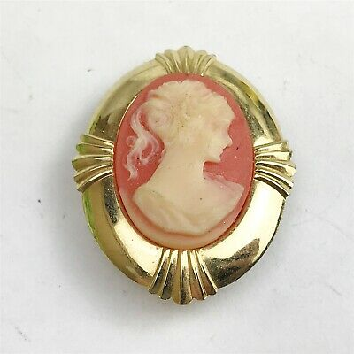 Vintage Gold Tone Cameo Clip On Scarf Costume Jewellery Ladies Brooch