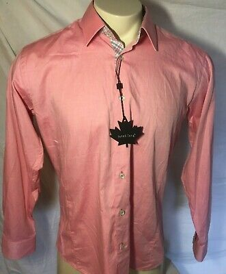 Jared Lang Men/'s Wine Purple Burgundy Pattern Trim Fit Button Front Shirt