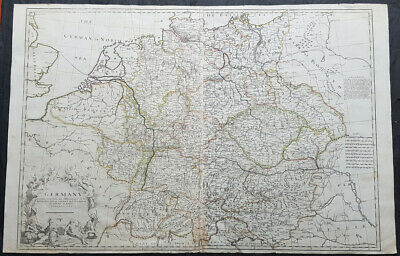 1710 John Senex Large Antique Map of Germany, Central Europe, Baltic to Austria