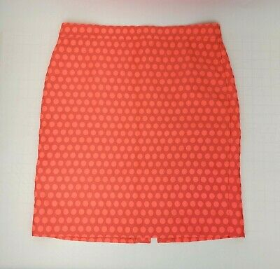 71663f7c00 J Crew Womens Pencil Skirt Size 12 Coral Orange Polka Dot Lined Straight