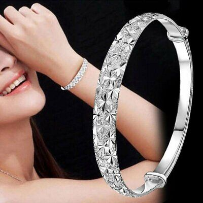 Women 925 Silver Crystal Cuff Bangle Charm Bracelet Jewelry Wedding Bridal New