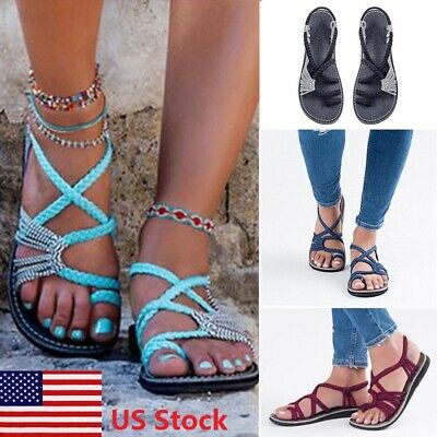 fb8b82b7e Women Bohemian Sandals Shoes Thong Flip Flops Flat T Strap Size Strappy Toe  US