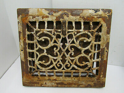 Antique Ornate Victorian Metal Floor Register Heating Grate Vent Cast Iron Metal
