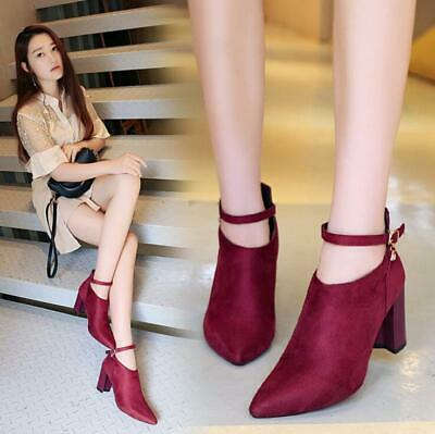 2019 Women's Point-Toe Ankle Boots Buckle Ankle Strap High Block Heels Zip Shoes