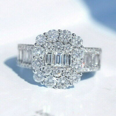 NATURAL 1Ct Diamond 14K White Gold Cluster Engagement Wedding Ring R1A