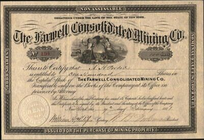 Farwell Consolidated Mining Co, Of New York, 1881, Uncancelled, Crisp Stock Cft.