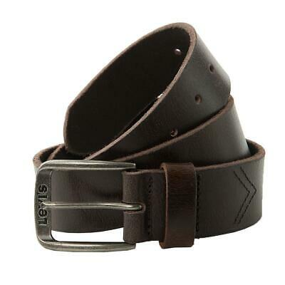 Levis Men's Belt Alturas Leather Belt Buckle, Logo Antiqued Silver - Dark Brown