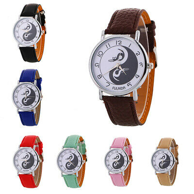 Men's Women's Quartz Analog Luxury Dial Sport Fashion Wrist Watch Leather Strap