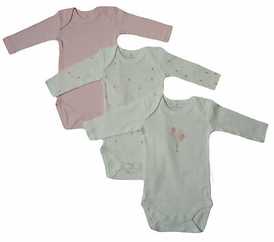3er SET BODY Name It Baby Kinder Mädchen langarm Bodys Einteiler rosa