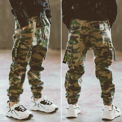 c269bb85ad New Kids Boys Combat Cotton Cargo Army Pants Child Military Camouflage  Trousers