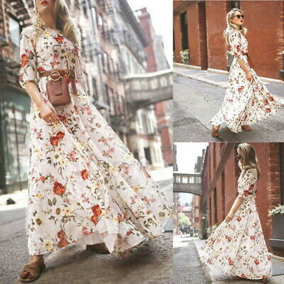 Fashion Womens Boho Floral Maxi Dress Party Evening Summer Beach Sundress