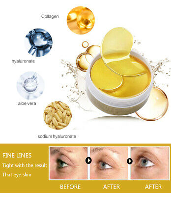 60Pcs Collagen 24k Gold Under Eye Gel Mask - Anti Ageing Wrinkle Bag Remover