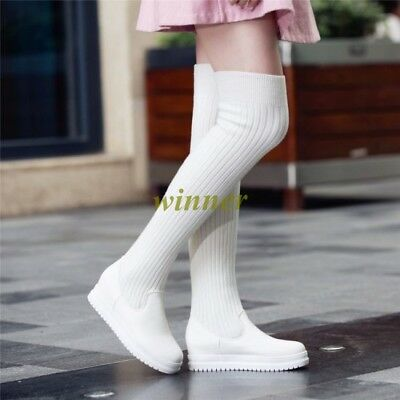 Hot Women's Over Knee Fashion Sneakers Thigh High Boots Stocking Long Boots Shoe