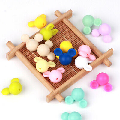 10Pcs Silicone Beads Baby Teether Teething Toys Mickey Bead Chewable Soother