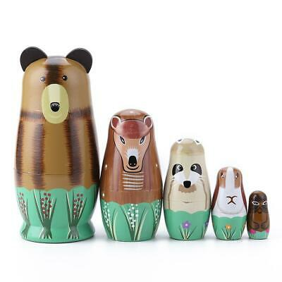 Set/5pcs Russian Matryoshka Babushka Nesting Dolls Toys, Cute Snimals Kids Gift