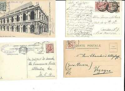 8 1900-20s ITALY postcard w STAMP FREAK FREAKS PERFORATION ERRORS LOT #2