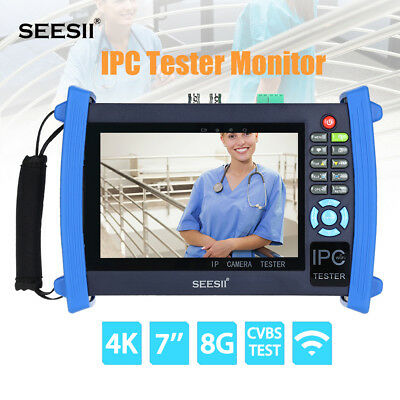 "SEESII 4K 7""IPC CCTV Camera Monitor Tester CVBS Analog HDMI Touchscreen Wifi PTZ"