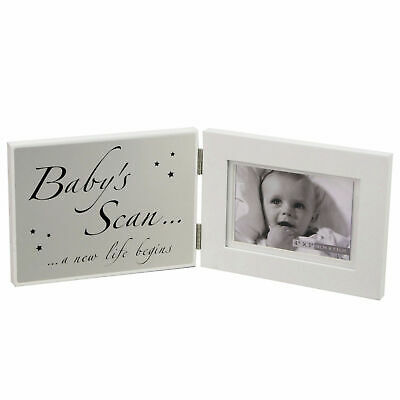 Hinged White Photo Frame & Silver Plaque - Baby's Scan A New Life Begins FW397