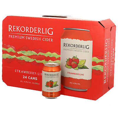24 x REKORDERLIG STRAWBERRY ERDBEERE LIME CIDER 0,33 l