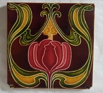 CHARMING ENGLISH ART NOUVEAU TULIP DESIGN 6 INCH ANTIQUE TILE colourful