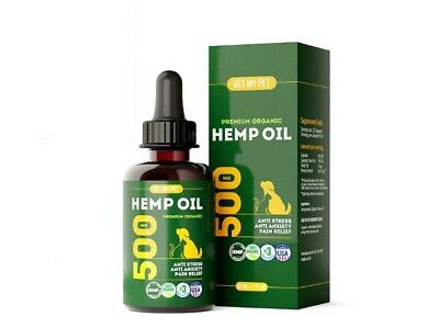 Vet My Pet Hemp Oil for Dogs and Cats - 500mg - Provides Dog Anxiety Relief - Fi