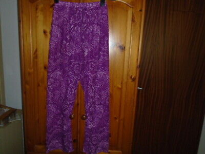 Purple and lilac pattern sheer holiday trousers, GEORGE, 14 years or ladies 8