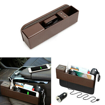 Brown Car Side Pocket Organizer Seat Console Gap Filler Foldable Cup Storage Box